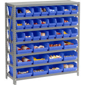 "Steel Shelving with Total 36 4""H Plastic Shelf Bins Blue, 36x12x39-7 Shelves"