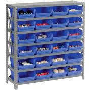"Steel Shelving with 24 4""H Plastic Shelf Bins Blue, 36x18x39-7 Shelves"