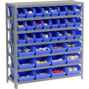 "Global Industrial™ Steel Shelving with Total 36 4""H Plastic Shelf Bins Blue, 36x18x39-7 Shelves"