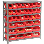 "Steel Shelving with Total 36 4""H Plastic Shelf Bins Red, 36x18x39-7 Shelves"
