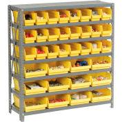 "Steel Shelving with Total 36 4""H Plastic Shelf Bins Yellow, 36x18x39-7 Shelves"