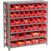 "Steel Shelving with Total 42 4""H Plastic Shelf Bins Red, 36x18x39-7 Shelves"
