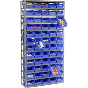 "Steel Shelving with 60 4""H Plastic Shelf Bins Blue, 36x12x73-13 Shelves"