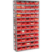"Steel Shelving with 60 4""H Plastic Shelf Bins Red, 36x12x72-13 Shelves"