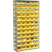 "Steel Shelving with 60 4""H Plastic Shelf Bins Yellow, 36x12x72-13 Shelves"