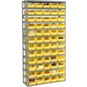 "Steel Shelving with 60 4""H Plastic Shelf Bins Yellow, 36x12x72-13 Shelves"