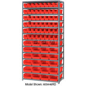 "Steel Shelving with Total 72 4""H Plastic Shelf Bins Red, 36x12x72-13 Shelves"
