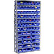 "Steel Shelving with Total 108 4""H Plastic Shelf Bins Blue, 36x12x72-13 Shelves"