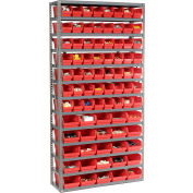 "Steel Shelving with Total  81 4""H Plastic Shelf Bins Red, 36x12x72-13 Shelves"
