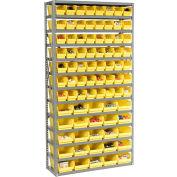 "Steel Shelving with Total 81 4""H Plastic Shelf Bins Yellow, 36x12x72-13 Shelves"