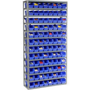 "Steel Shelving with 96 4""H Plastic Shelf Bins Blue, 36x12x73-13 Shelves"