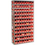 "Steel Shelving with 96 4""H Plastic Shelf Bins Red, 36x12x72-13 Shelves"