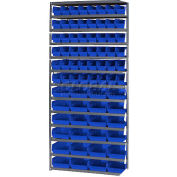 "Steel Shelving with 48 4""H Plastic Shelf Bins Blue, 36x18x72-13 Shelves"