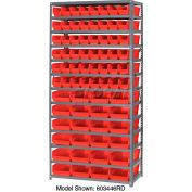 "Steel Shelving with 48 4""H Plastic Shelf Bins Red, 36x18x72-13 Shelves"