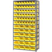 "Steel Shelving with 48 4""H Plastic Shelf Bins Yellow, 36x18x72-13 Shelves"
