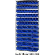 "Steel Shelving with 60 4""H Plastic Shelf Bins Blue, 36x18x72-13 Shelves"