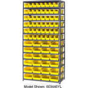 "Steel Shelving with 60 4""H Plastic Shelf Bins Yellow, 36x18x72-13 Shelves"