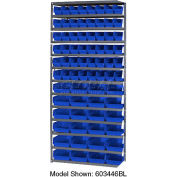 "Steel Shelving with Total 76 4""H Plastic Shelf Bins Blue, 36x18x72-13 Shelves"