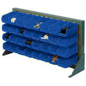 "Louvered Bench Rack 36""W x 20""H With 22 of Blue Stacking Akrobins"