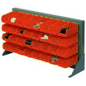 """Louvered Bench Rack 36""""W x 20""""H With 22 of Red Stacking Akrobins"""