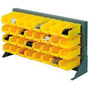 """Global Industrial™ Louvered Bench Rack 36""""W x 20""""H - 22 of Yellow Premium Stacking Bins"""