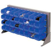 "Louvered Bench Rack 36""W x 20""H With 32 of Blue Stacking Akrobins"