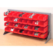 """Louvered Bench Rack 36""""W x 20""""H With 32 of Red Stacking Akrobins"""