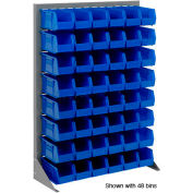 "Singled Sided Louvered Bin Rack 35""W x 15""D x 50""H with 58 of Blue Stacking Akrobins"