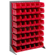 """Singled Sided Louvered Bin Rack 35""""W x 15""""D x 50""""H with 42 of Red Stacking Akrobins"""