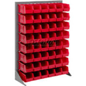 """Singled Sided Louvered Bin Rack 35""""W x 15""""D x 50""""H with 24 of Red Stacking Akrobins"""