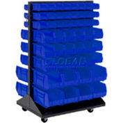 Mobile Double Sided Floor Rack With 100 Blue Stacking Bins 36 x 54
