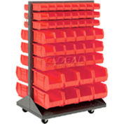 Global Industrial™ Mobile Double Sided Floor Rack - 100 Red Stacking Bins 36 x 55
