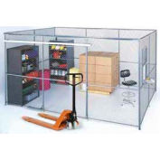 Wire Mesh Partition Security Room 20x10x10 with Roof - 3 Sides w/ Window