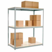 "Wide Span Rack 60""W x 24""D x 60""H Gray With 3 Shelves Laminated Deck 1200 Lb Cap Per Level"