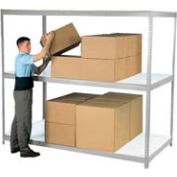 "Wide Span Rack 72""W x 48""D x 60""H Gray With 3 Shelves Laminated Deck 750 Lb Cap Per Level"
