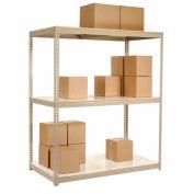 "Wide Span Rack 72""W x 36""D x 60""H Tan With 3 Shelves Laminated Deck 900 Lb Cap Per Level"