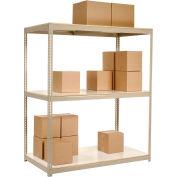 "Wide Span Rack 96""W x 36""D x 60""H Tan With 3 Shelves Laminated Deck 800 Lb Cap Per Level"