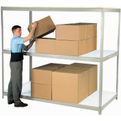 "Wide Span Rack 96""W x 24""D x 84""H Tan With 3 Shelves Laminated Deck 1100 Lb Cap Per Level"