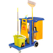 Global Industrial™ Janitor Cart Blue with 25 Gallon Vinyl Bag