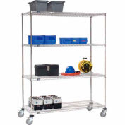Nexel® Stainless Steel Wire Shelf Truck 60x24x80 1200 Lb. Cap. with Brakes