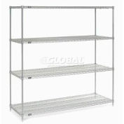 "Nexel Stainless Steel Wire Shelving 72""W X 24""D X 74""H"