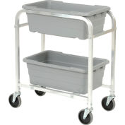 "Aluminum 2 Tote Box Cart, 28""L x 16""W x 33""H"
