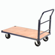 "Steel Bound Wood Deck Platform Truck 48 x 24 2000 Lb. Capacity 6"" Rubber Casters"
