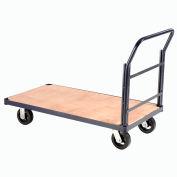 "Steel Bound Wood Deck Platform Truck 60 x 30 2400 Lb. Capacity 8"" Rubber Casters"