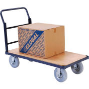"Steel Bound Wood Deck Platform Truck 48 x 24 1200 Lb. Capacity 8"" Pneumatic Casters"