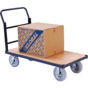 "Steel Bound Wood Deck Platform Truck 48 x 24 1200 Lb. Capacity 8"" Pneumatic Casters"