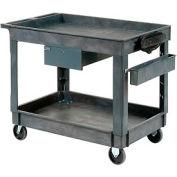 "Plastic Instrument Cart - Power Strip, Locking Drawer & Bin - Tray Top 5"" Wheels - Global Industrial"