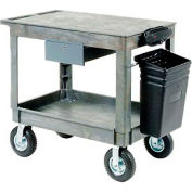"Plastic Instrument Cart - Flat Top - Power Strip, Locking Drawer & Bin 8"" Wheels - Global Industrial"