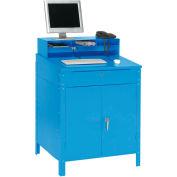 "Global Industrial™ Cabinet Shop Desk - Pigeonhole Riser 34-1/2""W x 30""D x 51-1/2""H - Blue"