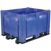 Decade C40SBL1-C1 Pallet Container Solid Wall W/ 6inch Casters 48x40x31 Blue 1500 Pounds Capacity